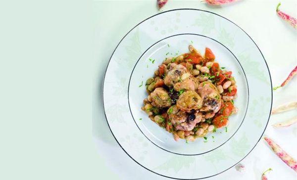 Μαγειρεύουμε κοτόπουλο με φασόλια χάντρες! φασόλια μαγειρική κοτόπουλο