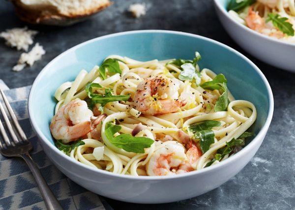 Σπαγγέτι με γαρίδες και λεμόνι! μακαρονάδα μαγειρική