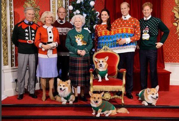 Η Βασιλική οικογένεια και τα αστεία χριστουγεννιάτικα πουλόβερ! Χριστούγεννα βασιλική οικογένεια Madame Tussauds