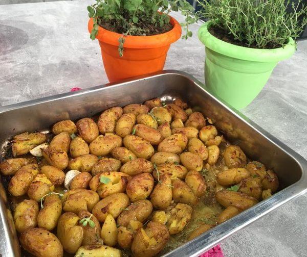 Λεμονάτες πατάτες με λαδορίγανη με μουστάρδα πατάτες μουστάρδα λεμονάτες πατάτες Αργυρώ Μπαρμπαρίγου