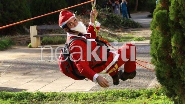 Θεαματικές «βουτιές» από 22 μέτρα έκαναν Αη Βασίληδες για τα παιδιά της Ογκολογικής του ΠΑΓΝΗ (βίντεο) Χριστούγεννα ΠΑΓΝΗ Ηράκλειο ΕΜΑΚ